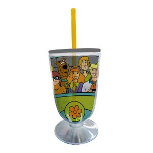 Copo / Taça de Acrílico com Canudo HB Scooby-Doo Everybody in the Mystery Machine - 550 ml