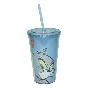 Copo de Plástico com Tampa e Canudo Hanna Barbera Tom and Jerry Mad Cat - 500 ml