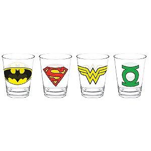Conjunto de Copos de Vidro para Doses / Shots DC Comics Super Heroes Logos - 4 Peças