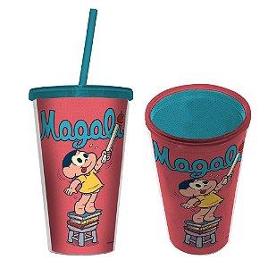 Copo de Plástico com Tampa e Canudo Turma da Mônica Magali - 500 ml