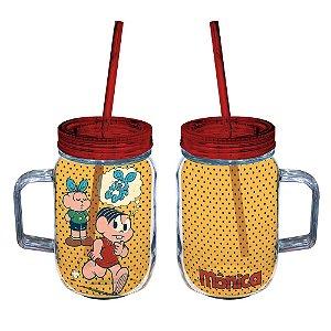 Copo de Acrílico tipo Mason Jars com Canudo Turma da Mônica Procurando pelo Sansão - 550 ml