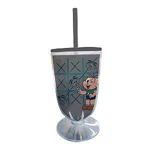 Copo / Taça de Acrílico com Canudo Turma da Mônica Cebolinha e o Jogo da Velha - 550 ml