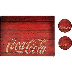 Conjunto de Jogo Americano e Porta Copos de Plástico Coca-Cola Wood Style - 4 Peças