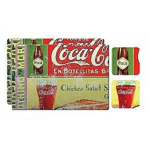 Conjunto de Jogo Americano e Porta Copos de Plástico Coca-Cola En Botellitas - 4 Peças