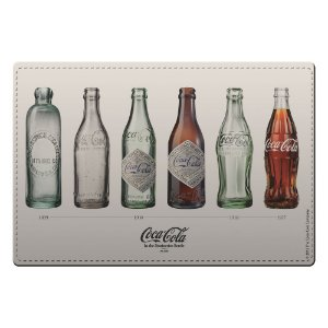 Conjunto de Jogo Americano e Porta Copos de Plástico Coca-Cola Bottles Evolution - 4 Peças
