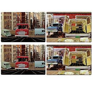 Jogo Americano de Plástico GM Vintage Old Trucks - 4 Peças