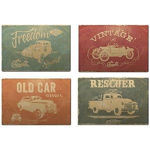 Jogo Americano de Plástico GM Vintage Classics Car - 4 Peças