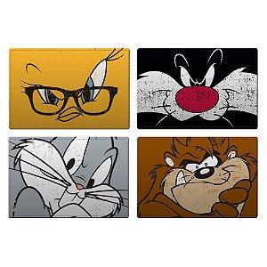 Jogo Americano de Plástico Looney Tunes Personagens - 4 Peças