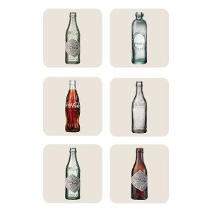 Conjunto de Porta Copos Coca-Cola Bottles Evolution - 6 Peças