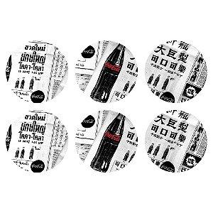 Conjunto de Porta Copos Coca-Cola Newspaper Black and White - 6 Peças