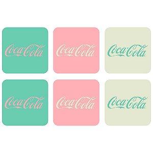 Conjunto de Porta Copos Quadrados Coca-Cola Contemporary Green / Pink / White - 6 Peças