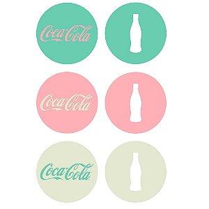 Conjunto de Porta Copos Redondos Coca-Cola Contemporary Green / Pink / White - 6 Peças