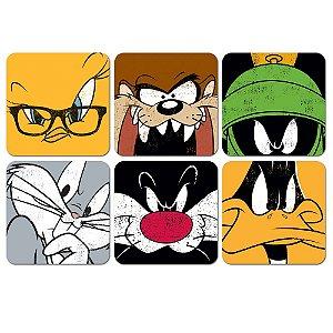 Conjunto de Porta Copos Looney Tunes Personagens - 6 Peças