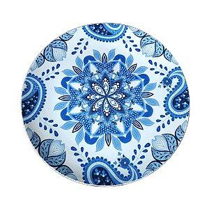 Sousplat de Plástico Indigo Mandala Azul / Branco - 33 cm