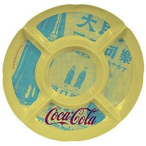 Petisqueira Redonda de Melamina Coca-Cola Newspaper Amarelo / Azul / Vermelho - 5 Divisórias