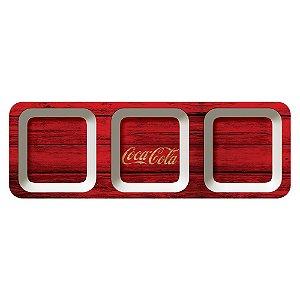 Petisqueira Retangular de Melamina Coca-Cola Wood Style - 3 Divisórias