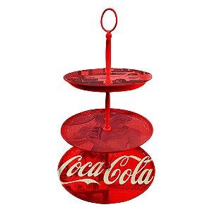Prato para Doces com Três Andares de Porcelana Coca-Cola Logo