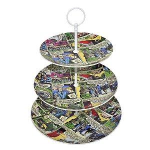 Prato para Doces com Três Andares de Porcelana DC Comics Quadrinhos Coloridos