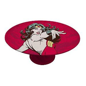 Prato para Bolo com Pedestal de Porcelana DC Comics Wonder Woman - 28 cm