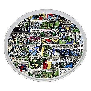 Prato para Bolo com Pedestal de Porcelana DC Comics Quadrinhos Coloridos - 28 cm