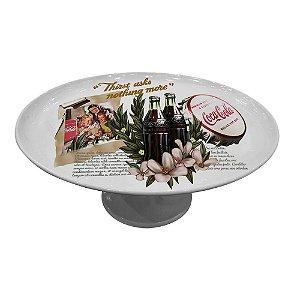 Prato para Bolo com Pedestal de Porcelana Coca-Cola Vanilla Flowers - 28 cm