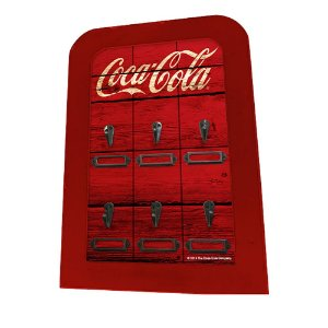 Porta Chaves de Madeira Coca-Cola Wood Style - 6 Ganchos