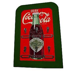 Porta Chaves de Madeira Coca-Cola Bottle - 6 Ganchos