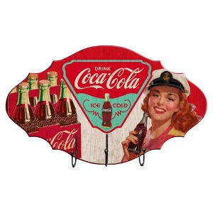 Cabideiro de Madeira Coca-Cola Pin Up Brown Lady Drink - Ice Cold - 3 Ganchos