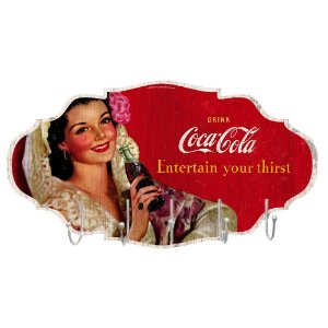 Cabideiro de Madeira Coca-Cola Brunette Lady Entertain your thirst - 5 Ganchos