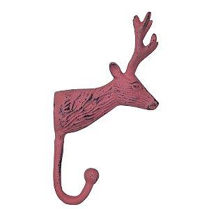 Cabideiro de Alumínio Cabeça de Cervo Rosa - 1 Gancho