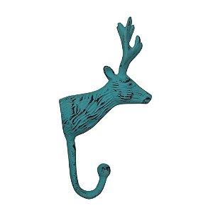 Cabideiro de Alumínio Cabeça de Cervo Azul - 1 Gancho