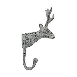 Cabideiro de Alumínio Cabeça de Cervo Branco - 1 Gancho