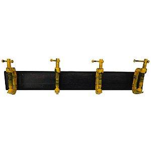Cabideiro de Madeira e Metal Wrench Tools Amarelo / Preto - 4 Ganchos