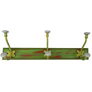 Cabideiro de Madeira e Metal Vergalhão Amarelo / Branco / Verde - 3 Ganchos