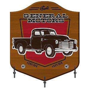 Cabideiro de Madeira e Metal GM Vintage General Motors - 3 Ganchos
