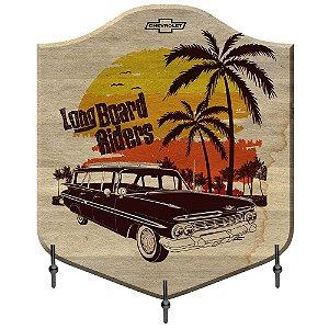 Cabideiro de Madeira e Metal GM Vintage Long Board Riders - 3 Ganchos