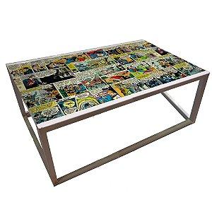 Mesa de Centro Retangular de Ferro DC Comics Quadrinhos Coloridos - 66 x 126 cm
