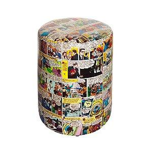 Puff de Tecido Sintético DC Comics Quadrinhos Coloridos - 45 x 35 cm