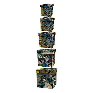 Conjunto de Caixas Organizadoras de Madeira DC Comics Batman - 5 Peças