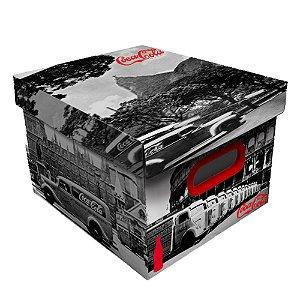 Caixa Organizadora de Plástico Desmontável Coca-Cola Cenários - 28 x 37 cm