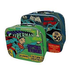 Conjunto de Maletas de MDF e Lona DC Comics Batman e Superman - 2 Peças