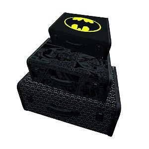 Conjunto de Maletas de MDF e Lona DC Comics Batman - 3 Peças