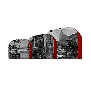 Conjunto de Maletas de Papelão Coca-Cola Cenários - 3 Peças