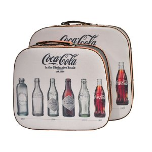 Conjunto de Maletas de MDF e Lona Coca-Cola Bottle Evolution - 2 Peças