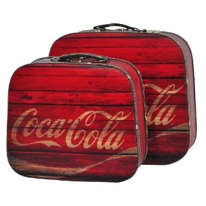 Conjunto de Maletas de MDF e Lona Coca-Cola Wood Style - 2 Peças