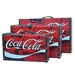Conjunto de Maletas de MDF e Lona Coca-Cola Cenários - 3 Peças