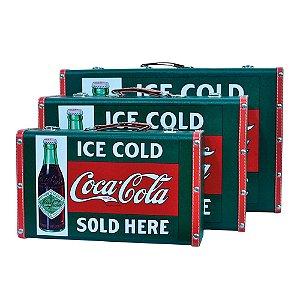 Conjunto de Maletas de MDF e Lona Coca-Cola Green Vintage Ice Cold  Sold Here - 3 Peças