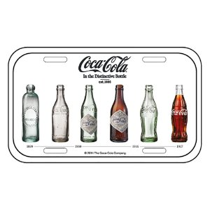 Placa Retangular Decorativa de Metal Coca-Cola Bottle Evolution - 15 x 30 cm