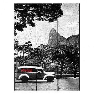 Placa Retangular Decorativa de Madeira Coca-Cola Rio de Janeiro  - 50 x 36 cm