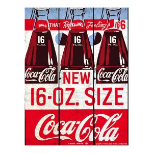 Placa Retangular Decorativa de Madeira Coca-Cola Bottles New 16-OZ. Size - 50 x 36 cm